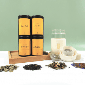 Tea Set with Magnetic Tea Infuser Tumbler in White (530ml)